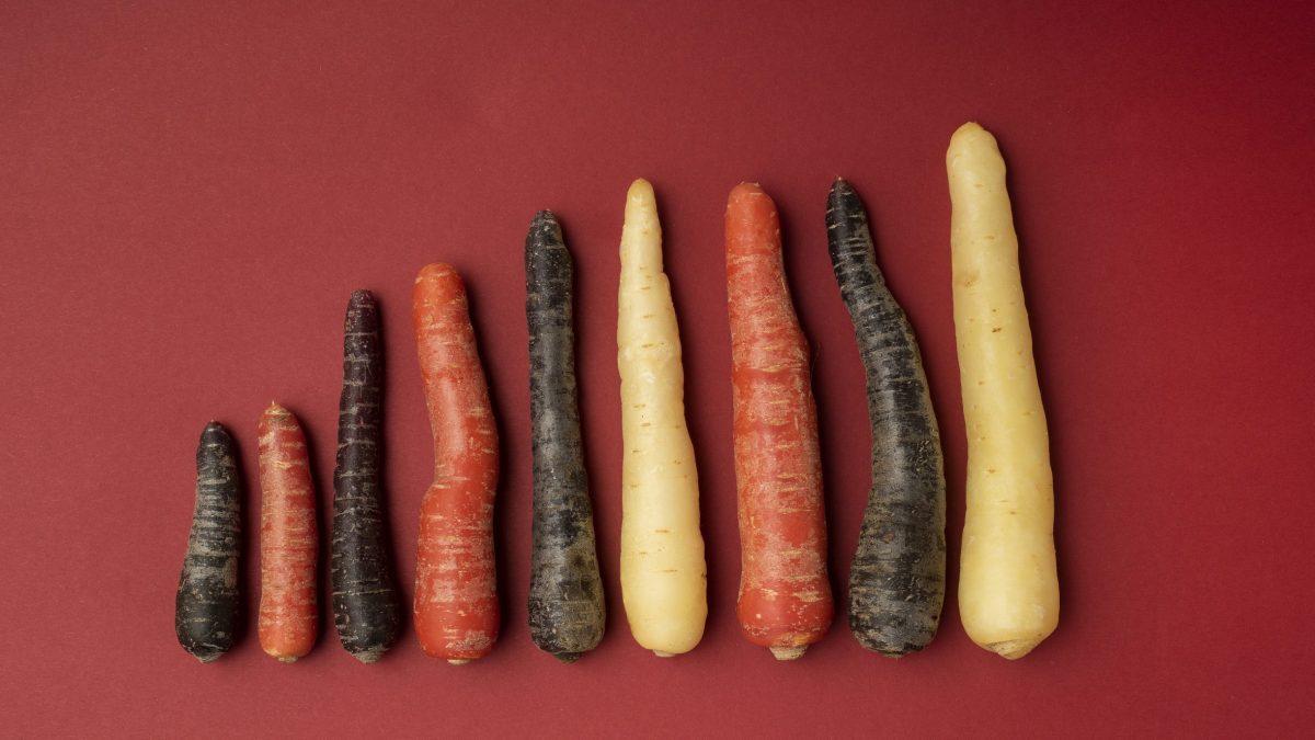 Viden om vægtstatus, mad- og måltidsvaner illustreret af gulerødder i forskellige farver.