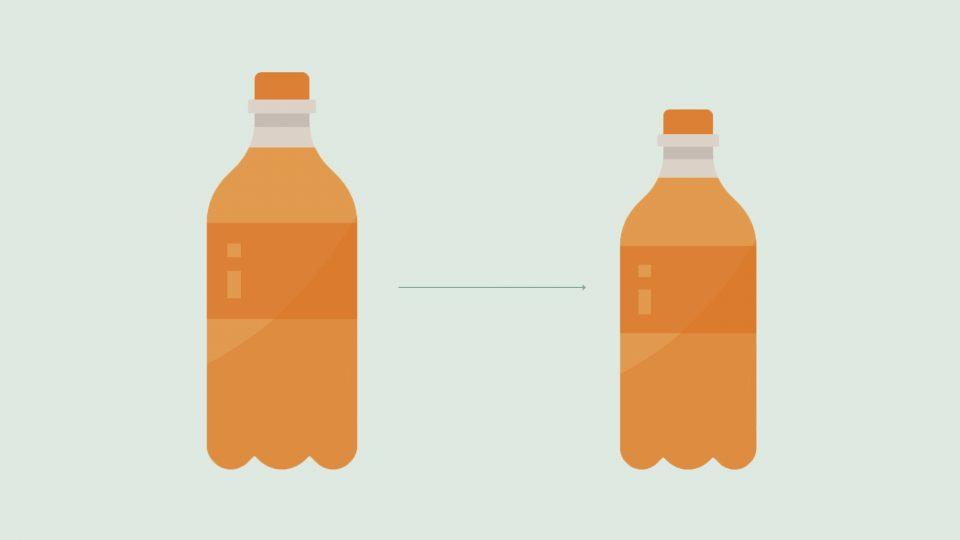 to sodavandsflasker der illustrerer downsizing