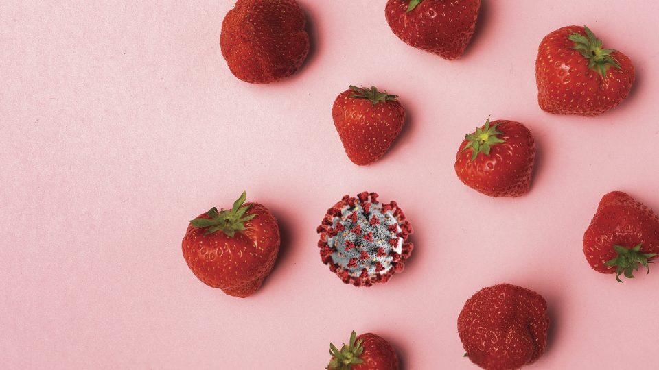 corona og jordbær der skal illustrere madvaner under corona