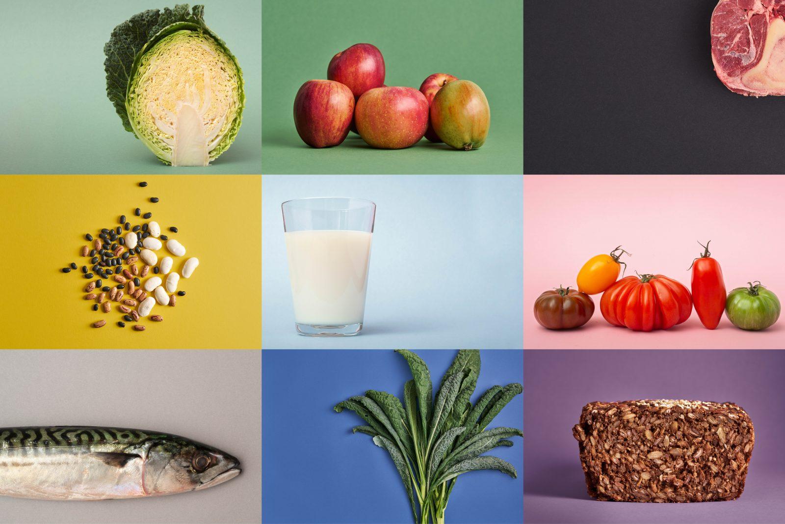 Sund mad illustreret af forskellige madvarer